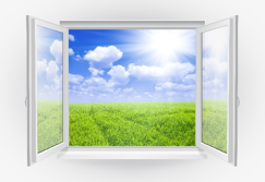 Image of an open window to a sunny green field.